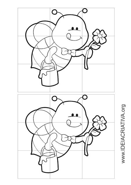 Quebra-cabeças de abelhas com 9 peças para colorir e brincar