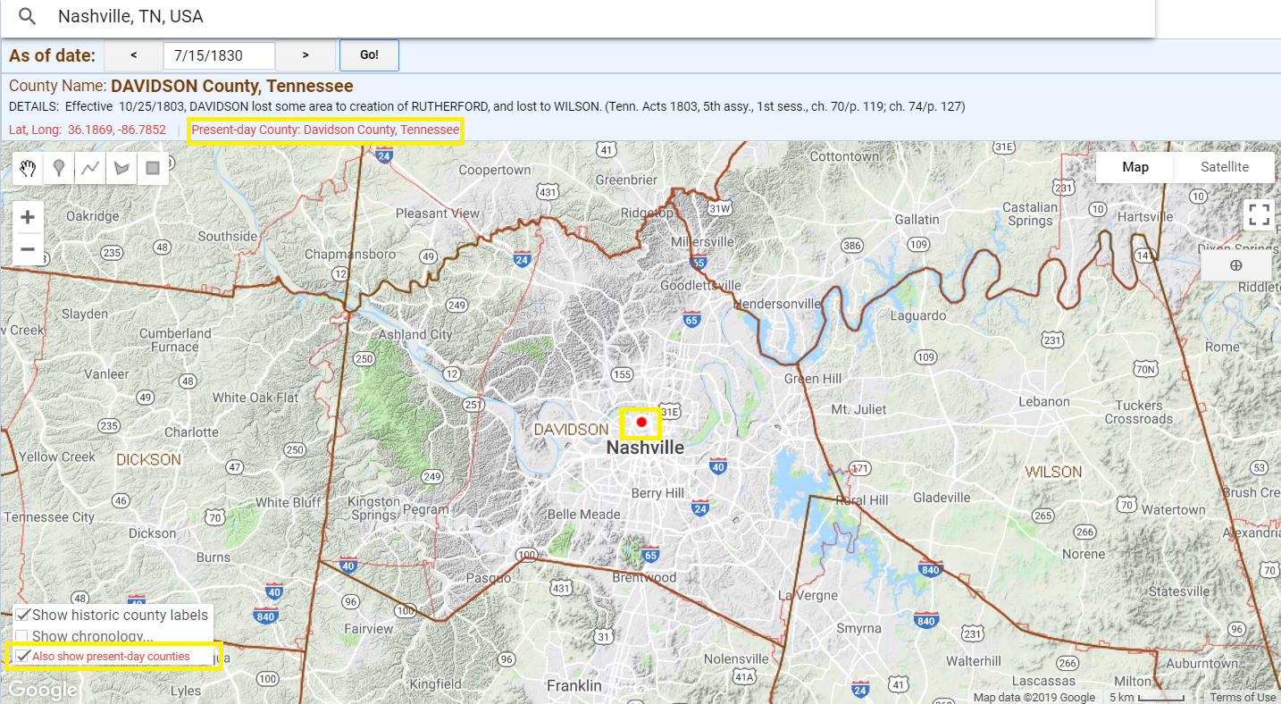 Present day counties overlaid on Historical US Counties on Google Maps tool, showing Nashville in 1830