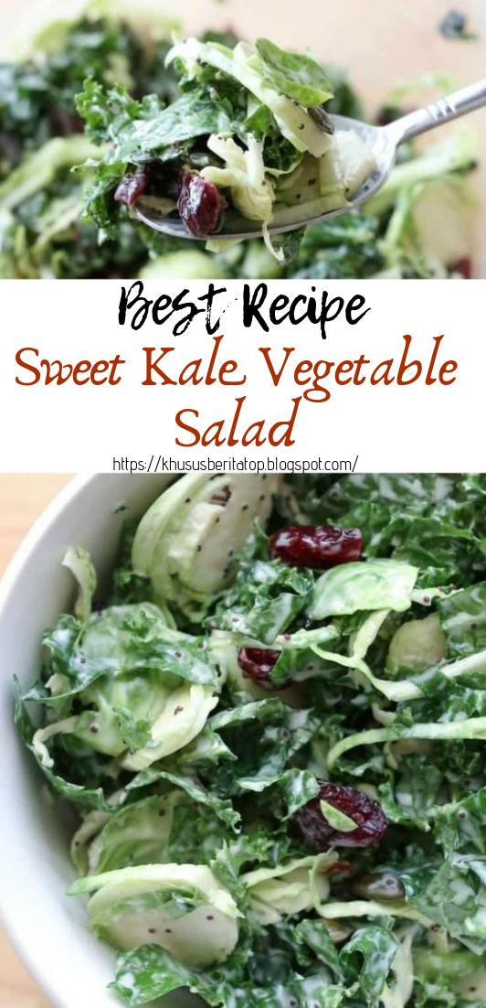Sweet Kale Vegetable Salad #vegan #recipevegetarian