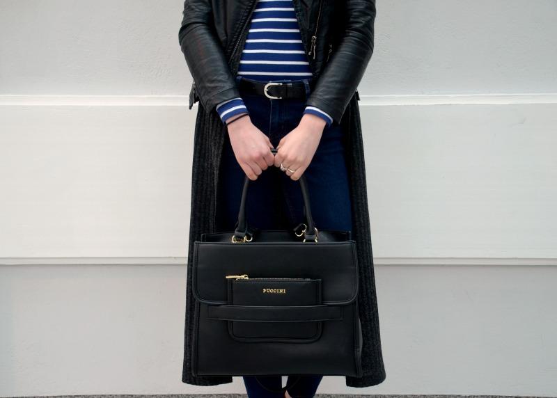 ramoneska, długi sweter, czarna torebka, Puccini, skórzany pasek