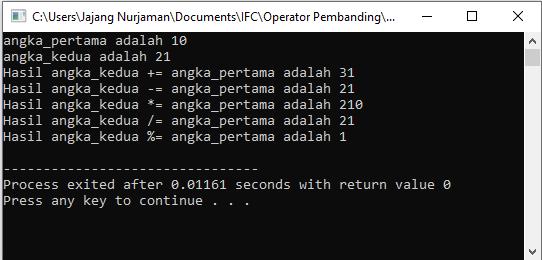 contoah aplikasi operator penugasan c++