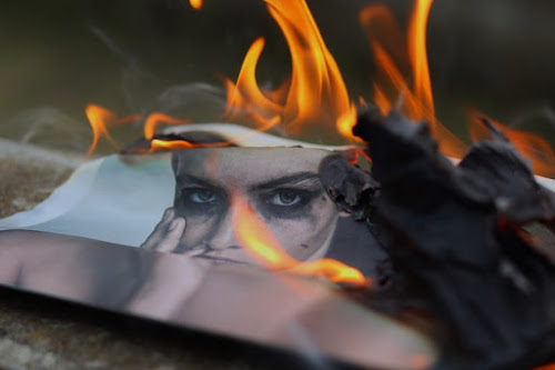 A burning photograph