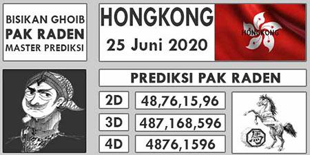 Prediksi HK Malam Ini Pak Raden Kamis 25 Juni 2020