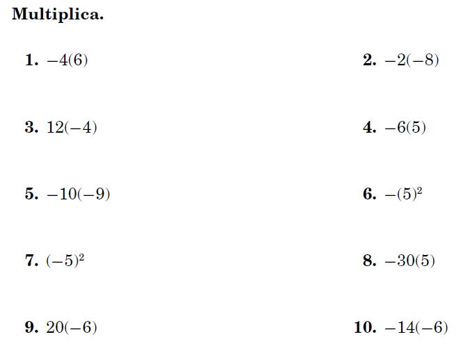 Uems Matemática Octavo Tarea 5 Multiplicación Y División De Números Enteros