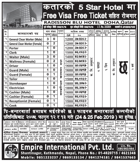 Jobs in Qatar for 5 Star Hotel for Nepali Candidates, Salary Up to Rs 56,307