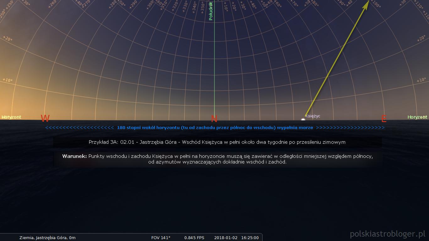 Symulacja nr 10. Przykład 3, część A - Wschód Księżyca w pełni około dwa tygodnie po przesileniu zimowym na przykładzie Jastrzębiej Góry