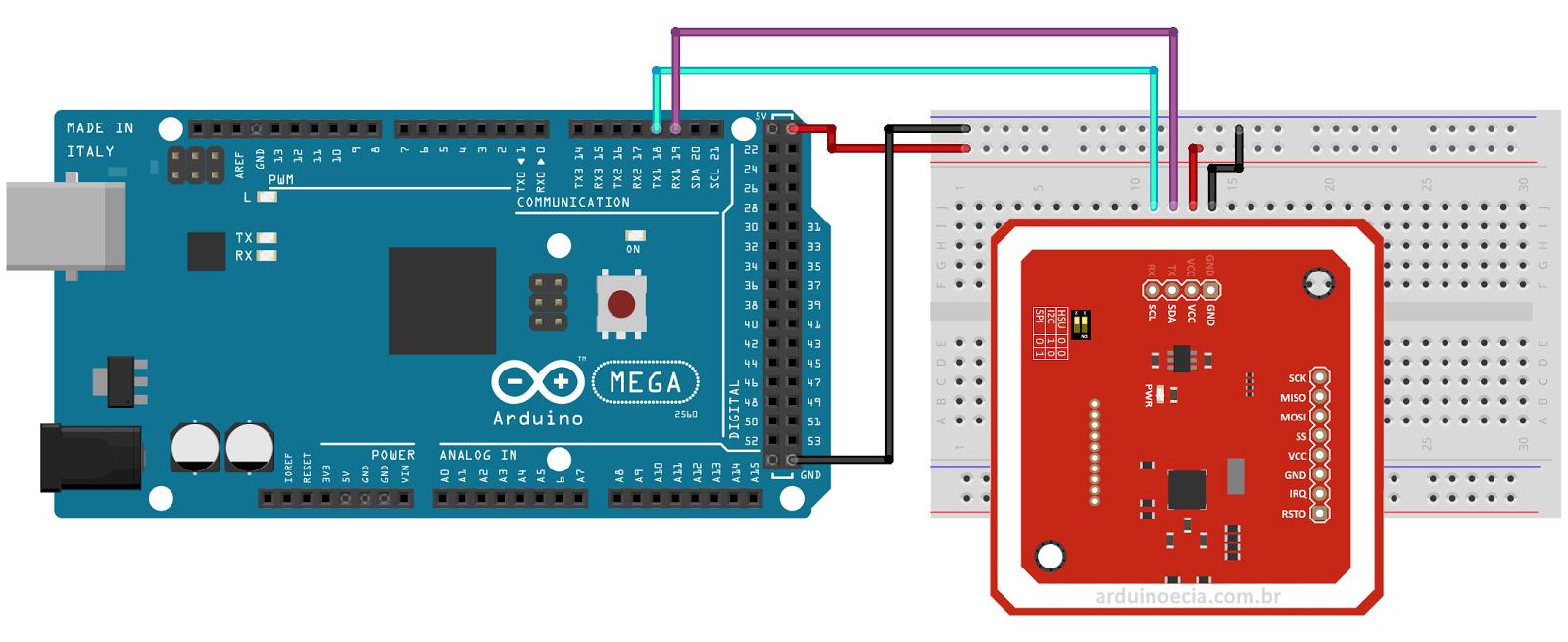 Circuito Arduino Mega e módulo PN532 NFC RFID
