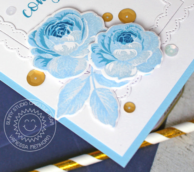 Sunny Studio Stamps: Everything's Rosy Fancy Frames Congrats Card by Vanessa Menhorn