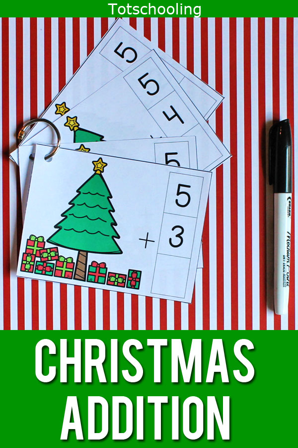 FREE printable Christmas themed math cards for addition practice. Perfect for kindergarten kids this holiday season!
