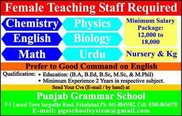 Female Teaching Jobs in Punjab Grammar School Faisalabad