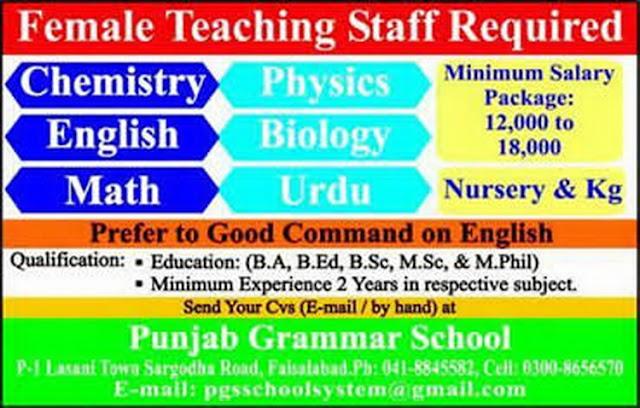 Female Teaching Jobs in Punjab Grammar School Faisalabad