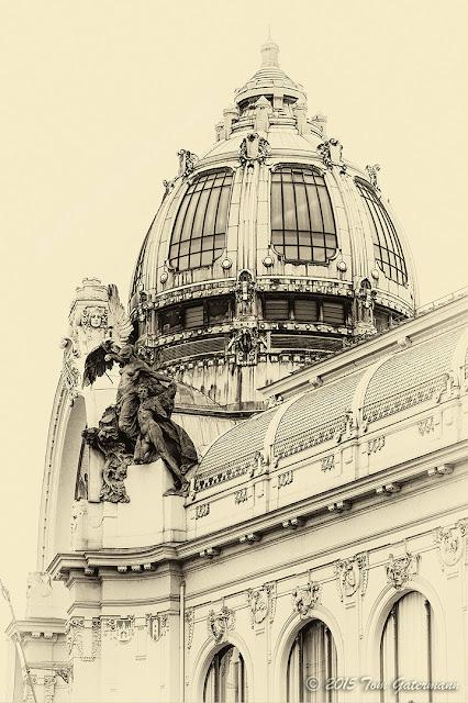 The dome on Prague's Municipal House (Obecní dům).