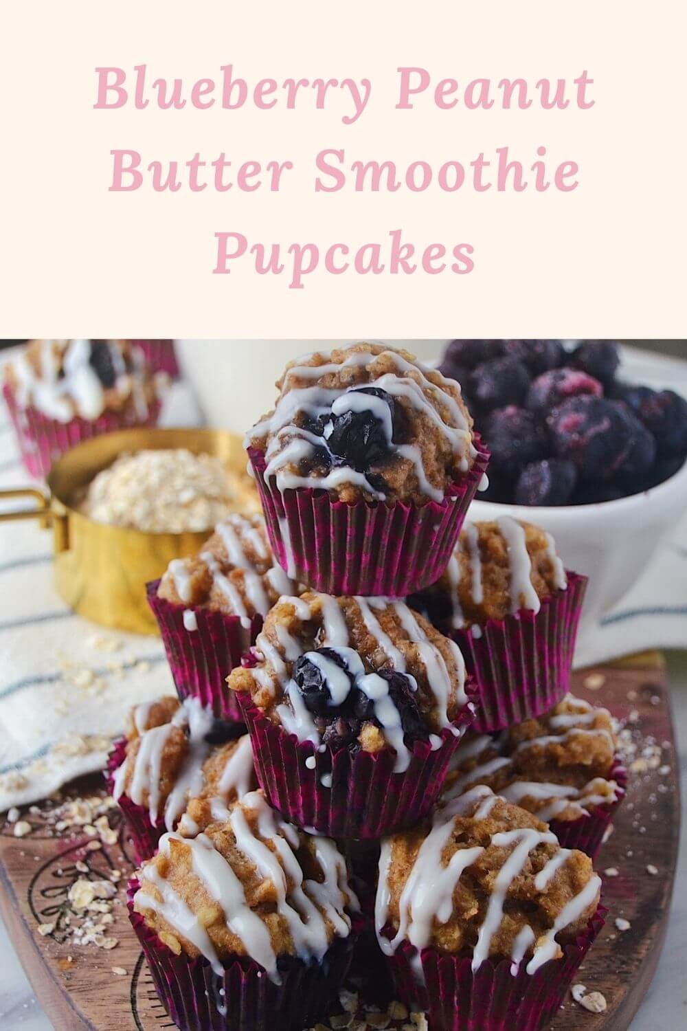 Blueberry Peanut Butter Smoothie Pupcakes