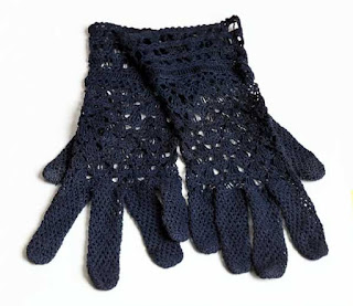 Vintage Navy Blue Crochet Gloves