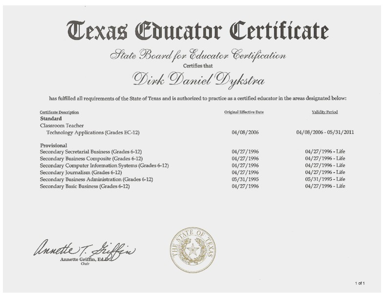 examples of best certificate: texas teacher certification tr71