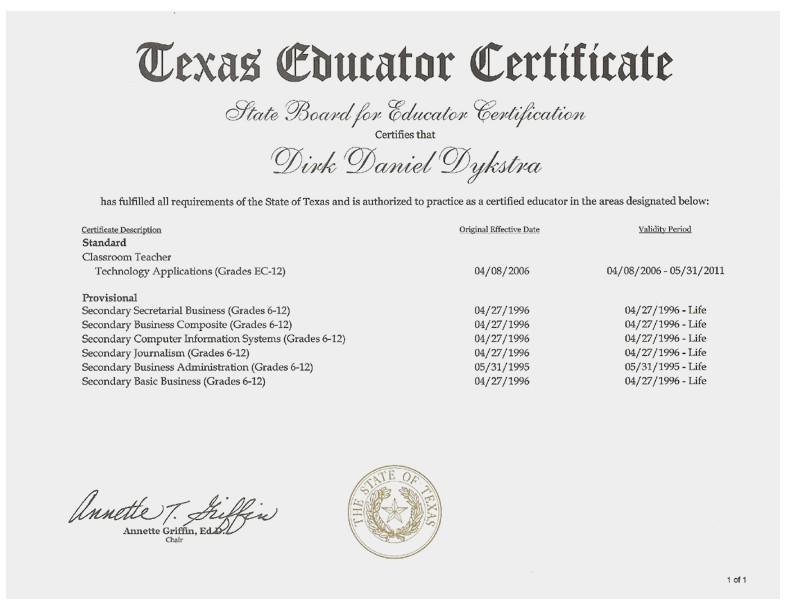 Examples Of Best Certificate Texas Teacher Certification tr71 - certification examples