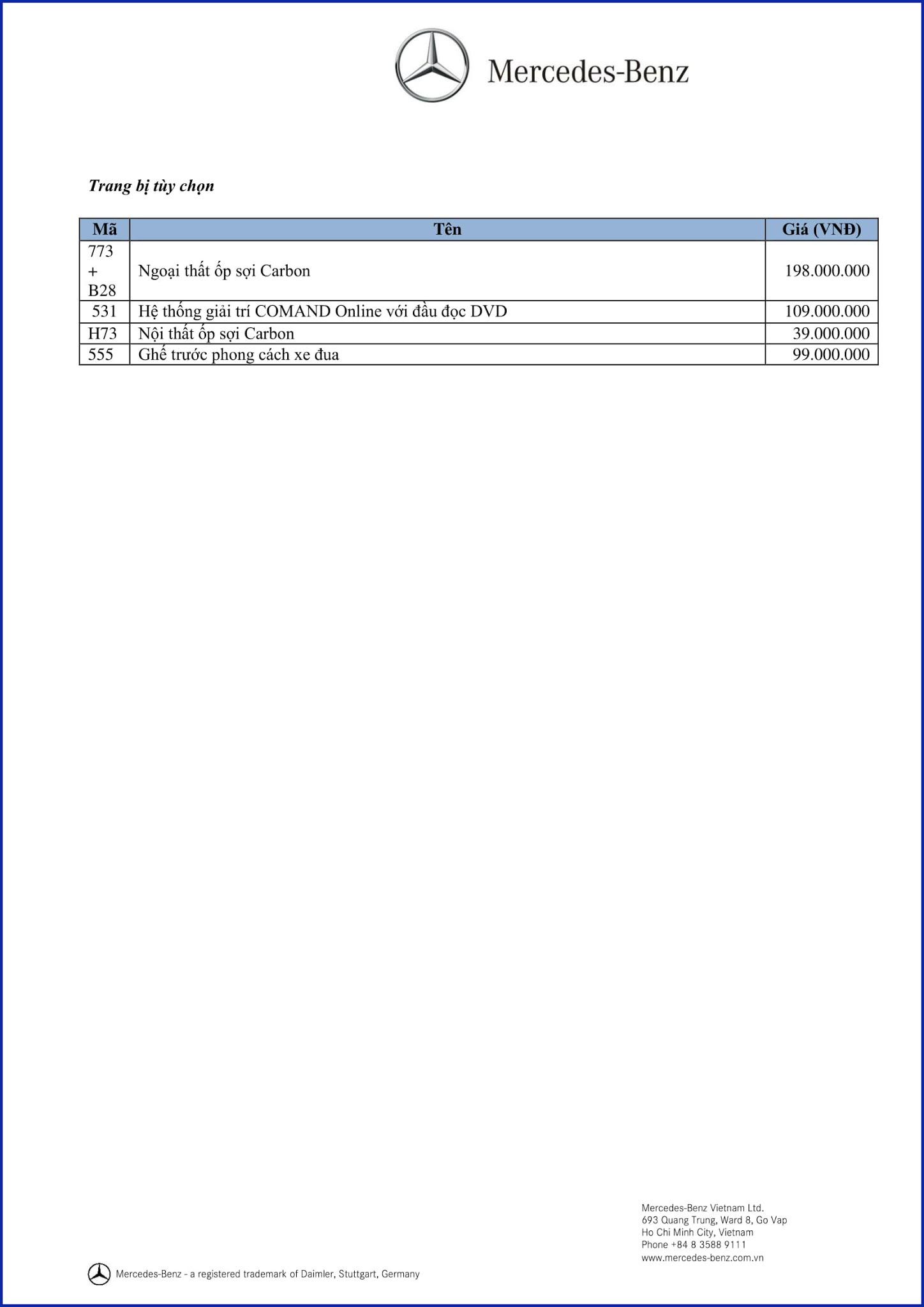 Bảng thông số kỹ thuật Mercedes AMG GLA 45 4MATIC 2019 tại Mercedes Trường Chinh