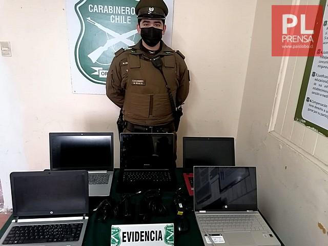 Osorno: Carabineros recupera 3 millones de pesos y 5 computadores robados