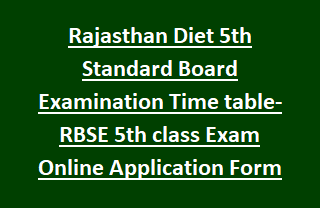 Rajasthan Diet 5th Standard Board Examination Time table- RBSE 5th class Exam Online Application Form 2017-18