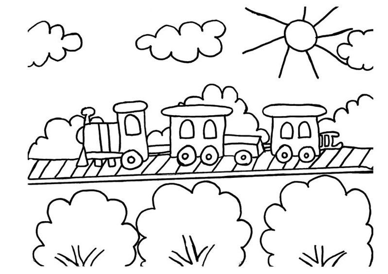 Hình tô màu đoàn tàu hỏa đáng yêu