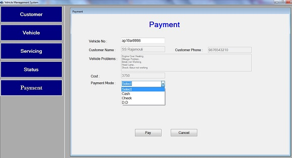 payment vehicle management system project