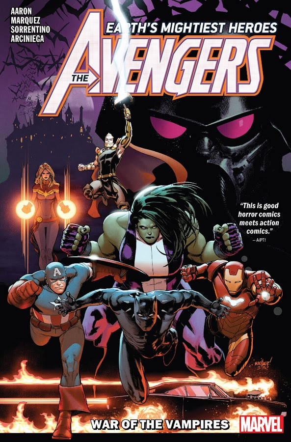 avengers war of vampires marvel comics avengers blade eric brooks black panther t'challa captain marvel carol danvers captain america steve rogers ghost rider robbie reyes iron man tony stark she-hulk jennifer walters thor odinson vlad dracula legion of the unliving shadow colonel xarus jason aaron david marquez