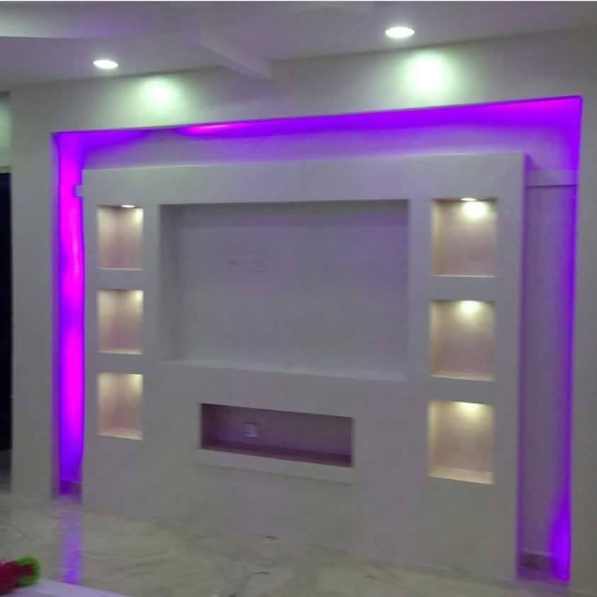 Dwell of decor 30 popular custom gypsum board tv units for Gypsum board images