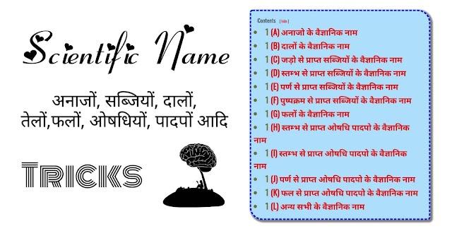 वैज्ञानिक नाम अनाज, पौधों, ओषधियौ, दालों, सब्जियों, फलों, अन्य सभी वैज्ञानिक के नाम Scientific name tricks