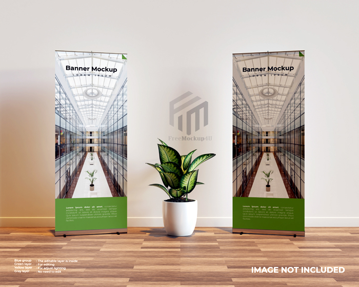 Two Roll Up Banner Mockup Interior Scene With Plant Middle