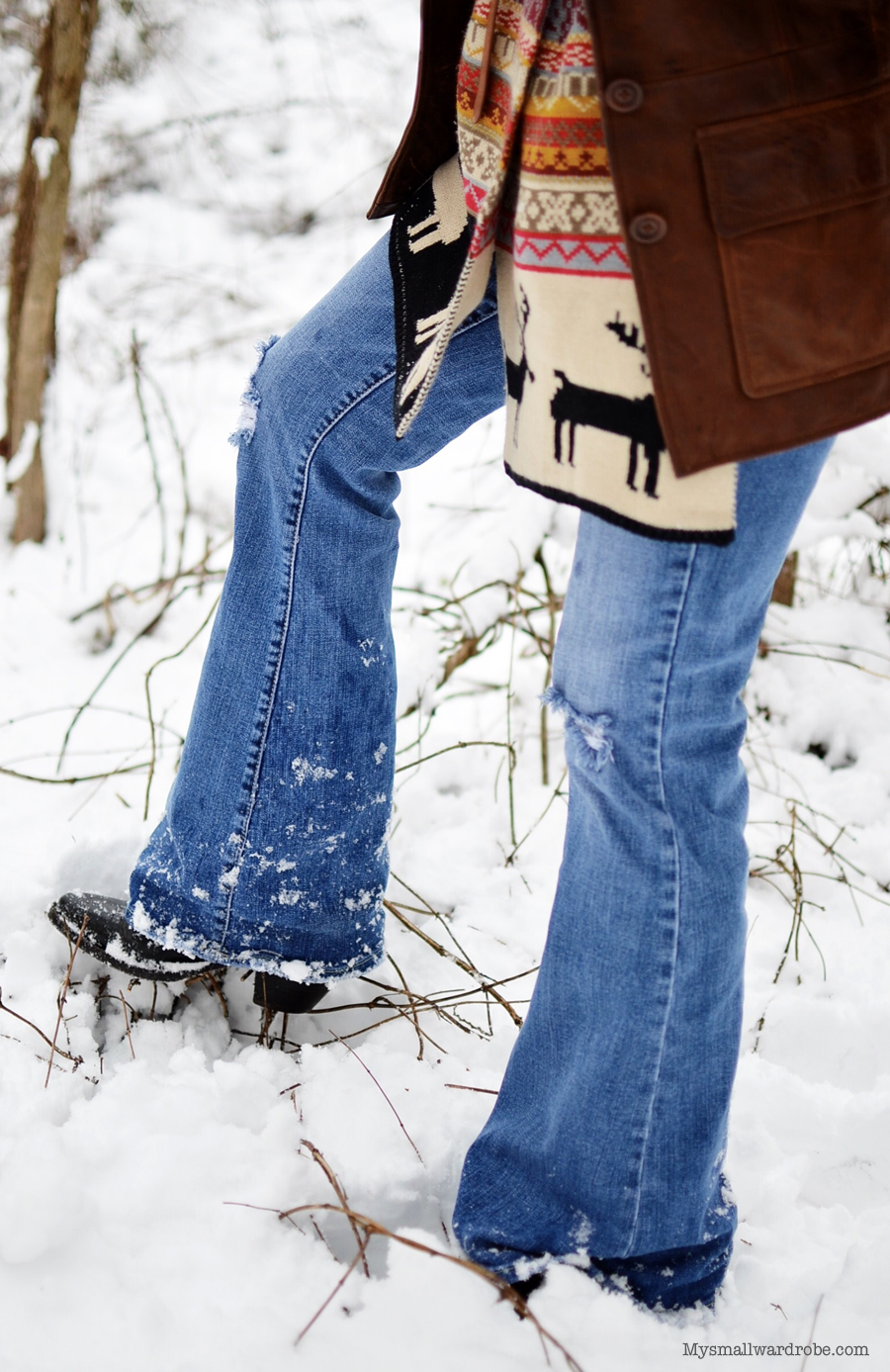Cowboy boots in the snow