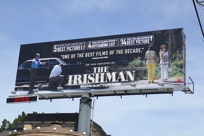 Irishman Golden Globe nominee FYC billboard