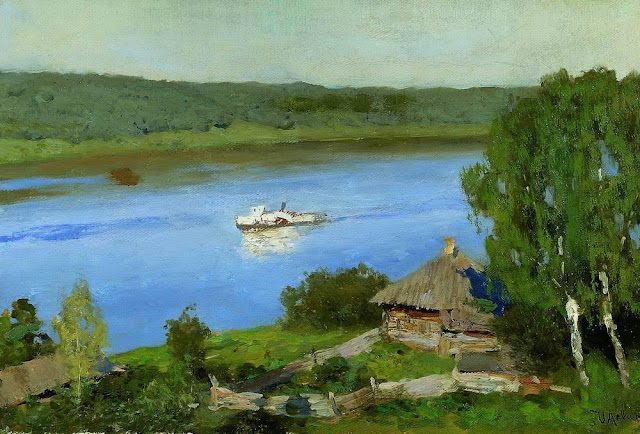 Исаак Ильич Левитан - Пейзаж с пароходом. Конец 1880-х