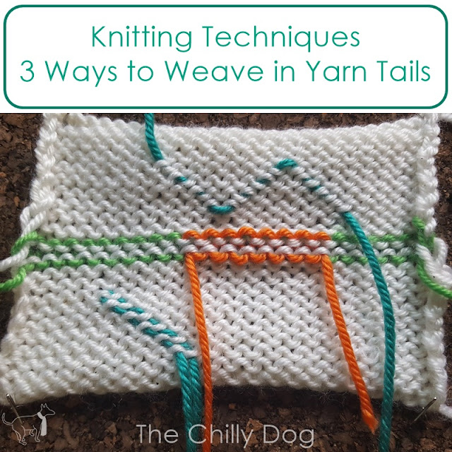 Knitting Techniques: 3 ways to weave in the yarn tails on sctockinette stitch - duplicate stitch, zig-zag and diagonal methods
