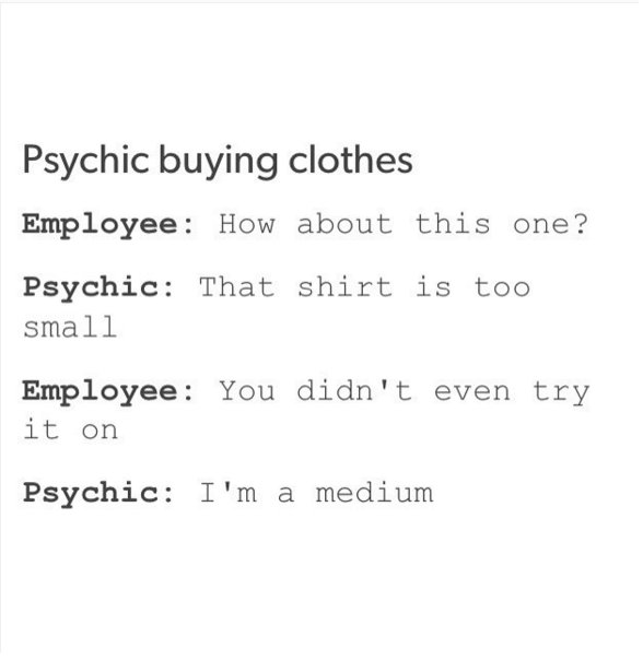 Funny Psychic Buying Clothes Picture