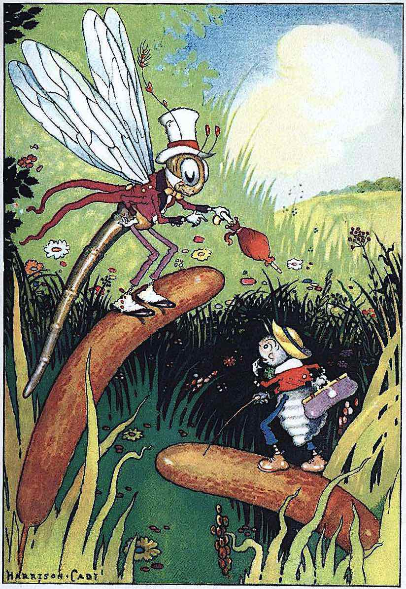 a Harrison Cady illustration of two bugs talking in marsh wetland bullrushes