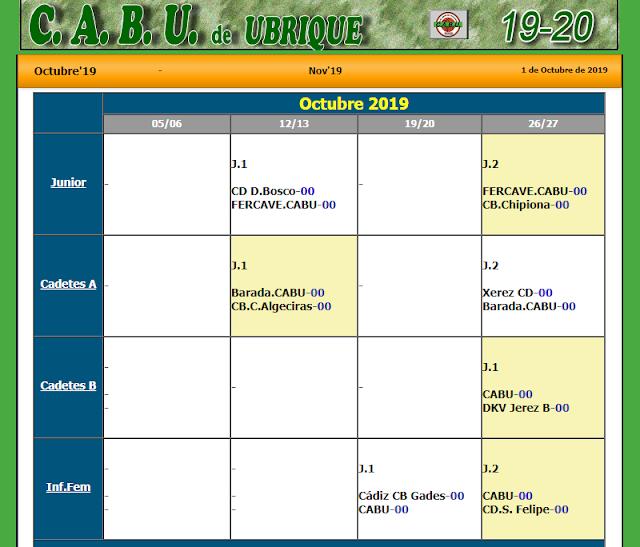 Calenario Octubre 2019