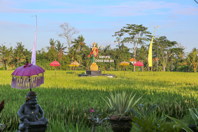 Warung Dewa Malen restaurant among the paddy fields in Ubud bali indonesia