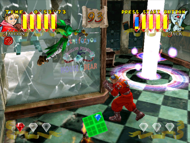 Two characters fight each other in an indoor arena as one is knocked through a glass wall.
