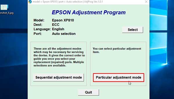 Reset Epson Xp 810