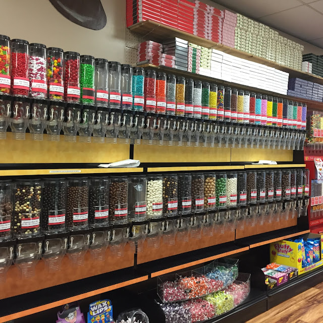 The wall full of old school candies at Northwoods Premium Confections in Beloit, Wisconsin is like a candy extravaganza!