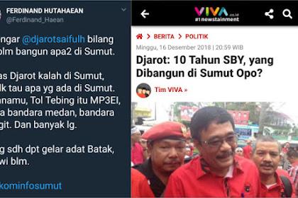 Sebut 10 Tahun SBY di Sumut Belum Bangun Apa-apa, Djarot 'Diskakmat' Ferdinand