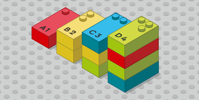 A diagram showing LEGO Braille Bricks arranged in the shape of a staircase with each step representing an increasing number from 1 to 4