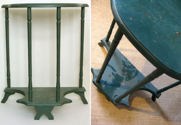 dark green little table in need of love