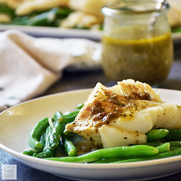 Poached Cod with Pesto Wine Sauce