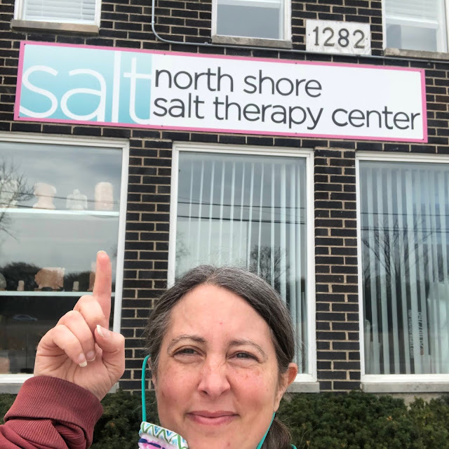 Ready for my morning of self care at North Shore Salt Therapy Center in Highland Park, IL.