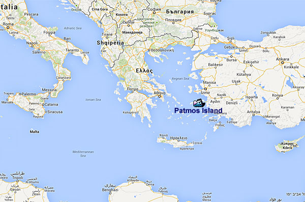 Area around Patmos and western Asia