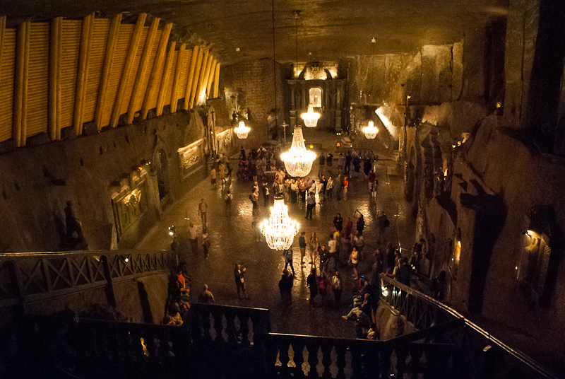 Wieliczka Salt Mine in Poland cathedral and chandeliers underground