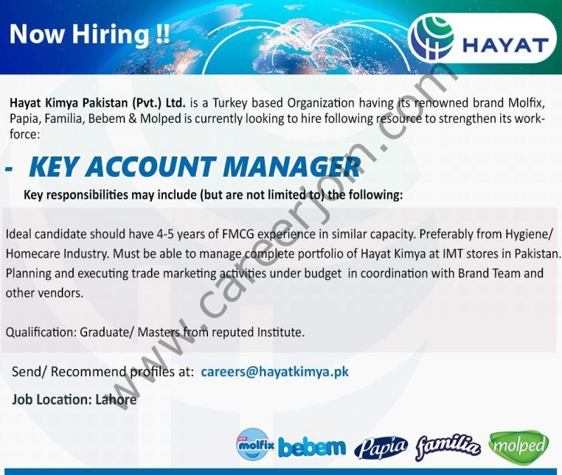 Hayat Kimya Pakistan Pvt Ltd Jobs Key Account Manager