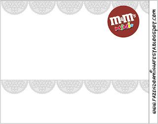 Silver Lace Free Printable M&M  Labels.