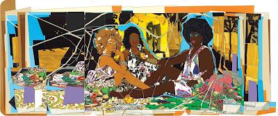 Le Dejeuner sur l'herbe- Les Trois Femmes Noires (2010), Mickalene Thomas
